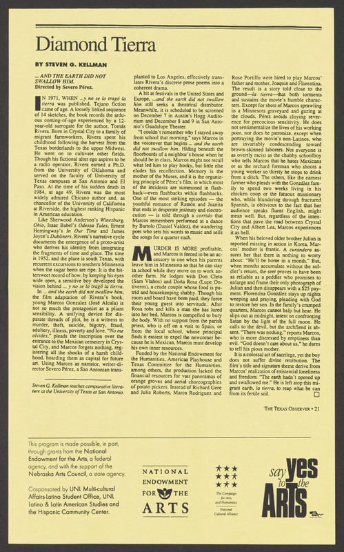Texas Observer review. <br /><br /> Severo Perez Papers, Wittliff Collections, Texas State University.