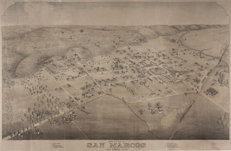Bird's Eye View of San Marcos, Hays County, Texas, 1881