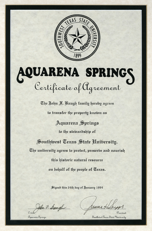 Certificate of agreement transferring Aquarena to Southwest Texas State University