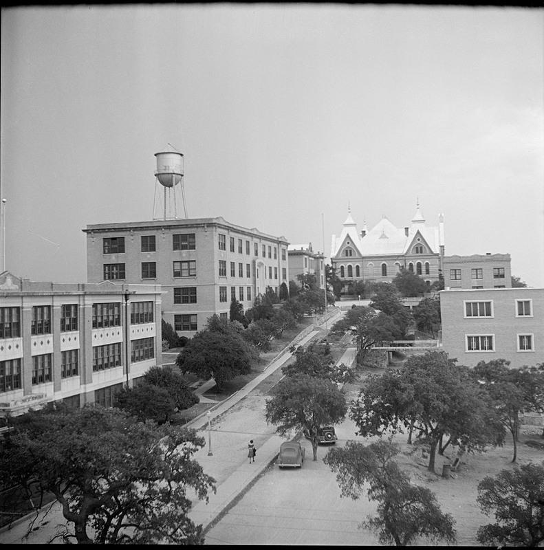 Main Building and Quadrangle, circa 1940-1945<br /><br />