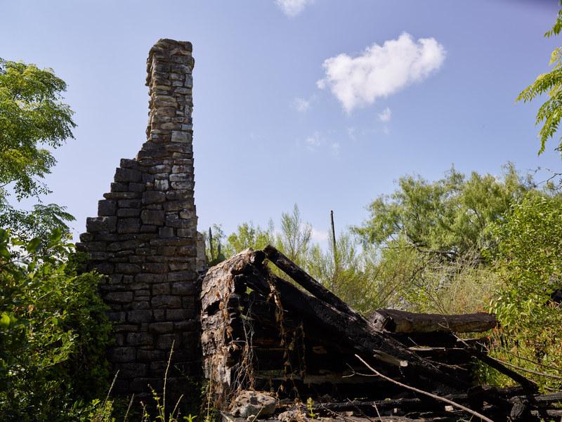 Ruins of the 1964 replica of the Burleson cabin
