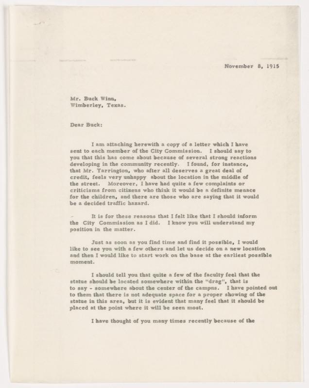 Flowers letter to Buck Winn