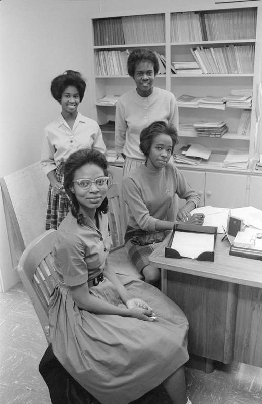 Portrait of four of the first five African American women to enroll at Southwest Texas State College (now Texas State University), Registrar's Office, February 4, 1963<br /><br />