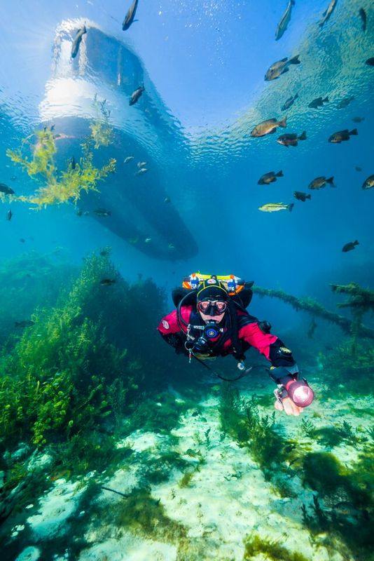 Diver and Boat Underwater