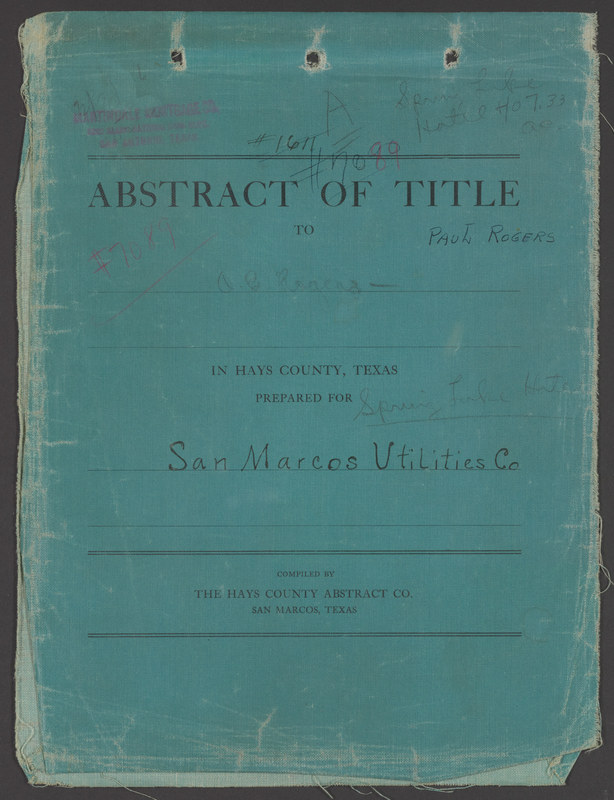 Abstract of Title for the Mill Tract