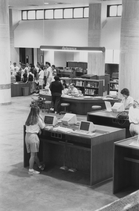 Main floor and reference desk, Alkek Library, circa 1990<br /><br />