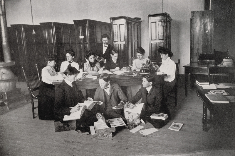 Editorial staff of the yearbook, Pedagog, in the Main Building library, 1903-1904.<br /><br />