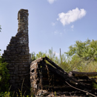 Ruins of the 1964 replica of the Burleson cabin